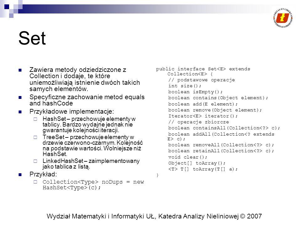 Wydział Matematyki i Informatyki UŁ, Katedra Analizy Nieliniowej © 2007 Set Zawiera metody odziedziczone z Collection i dodaje, te które uniemożliwiają istnienie dwóch takich samych elementów.