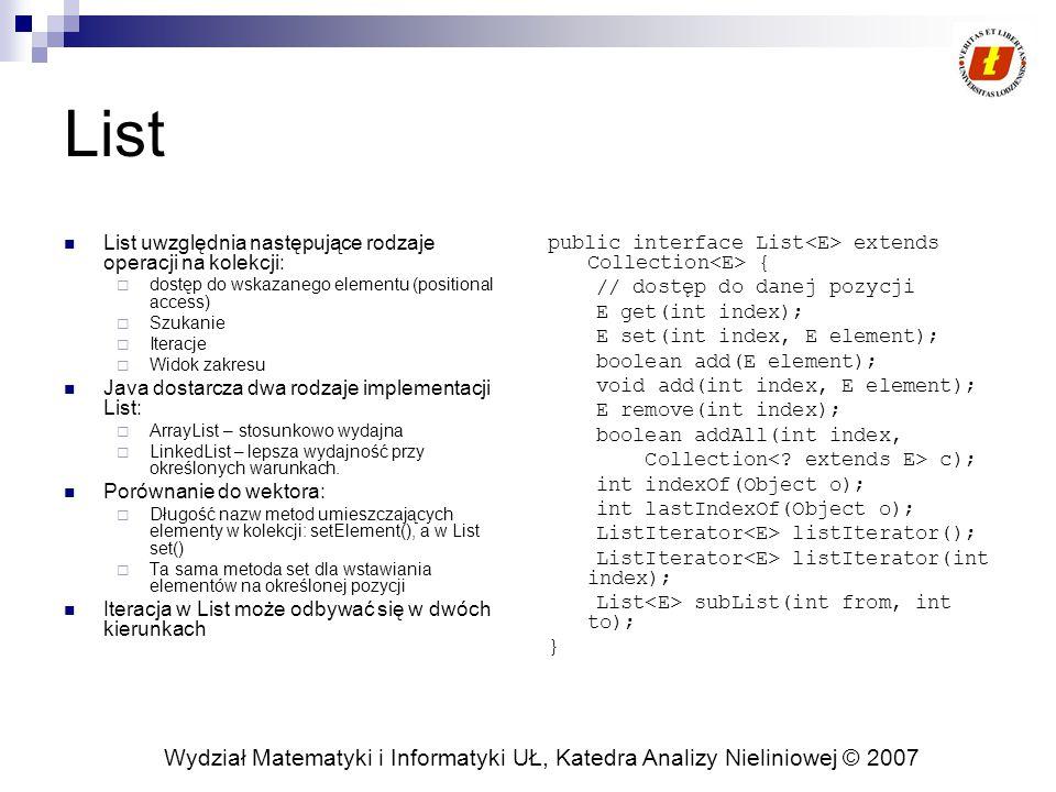 Wydział Matematyki i Informatyki UŁ, Katedra Analizy Nieliniowej © 2007 List List uwzględnia następujące rodzaje operacji na kolekcji:  dostęp do wsk