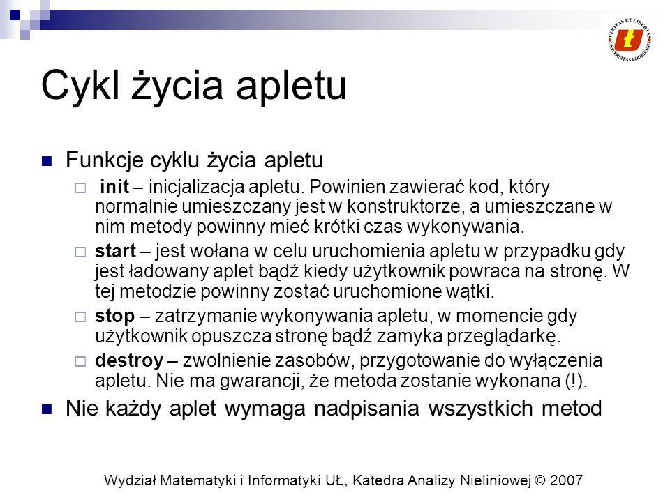 Wydział Matematyki i Informatyki UŁ, Katedra Analizy Nieliniowej © 2007 Cykl życia apletu Funkcje cyklu życia apletu  init – inicjalizacja apletu.