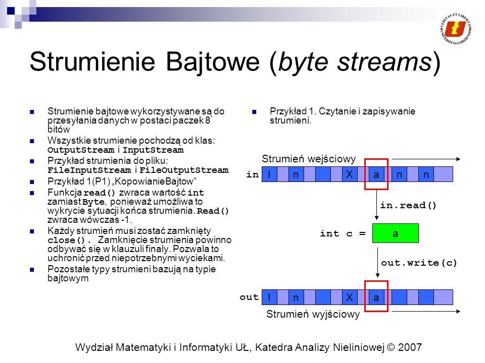 """Wydział Matematyki i Informatyki UŁ, Katedra Analizy Nieliniowej © 2007 Strumienie Bajtowe (byte streams) Strumienie bajtowe wykorzystywane są do przesyłania danych w postaci paczek 8 bitów Wszystkie strumienie pochodzą od klas: OutputStream i InputStream Przykład strumienia do pliku: FileInputStream i FileOutputStream Przykład 1(P1) """"KopowianieBajtow Funkcja read() zwraca wartość int zamiast Byte, ponieważ umożliwa to wykrycie sytuacji końca strumienia."""