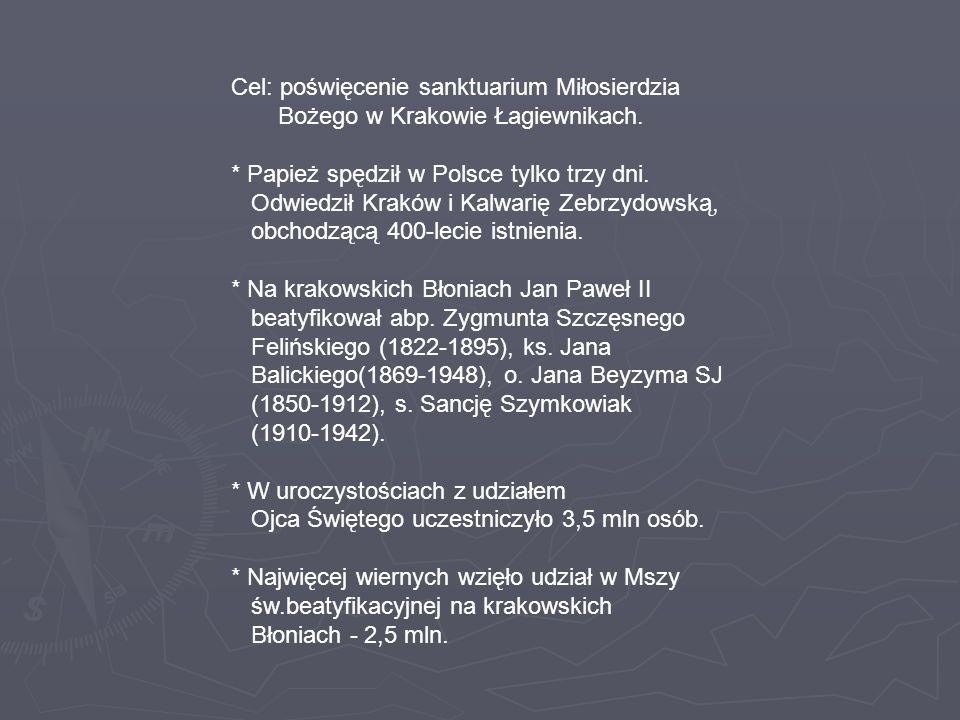 Cel: poświęcenie sanktuarium Miłosierdzia Bożego w Krakowie Łagiewnikach.