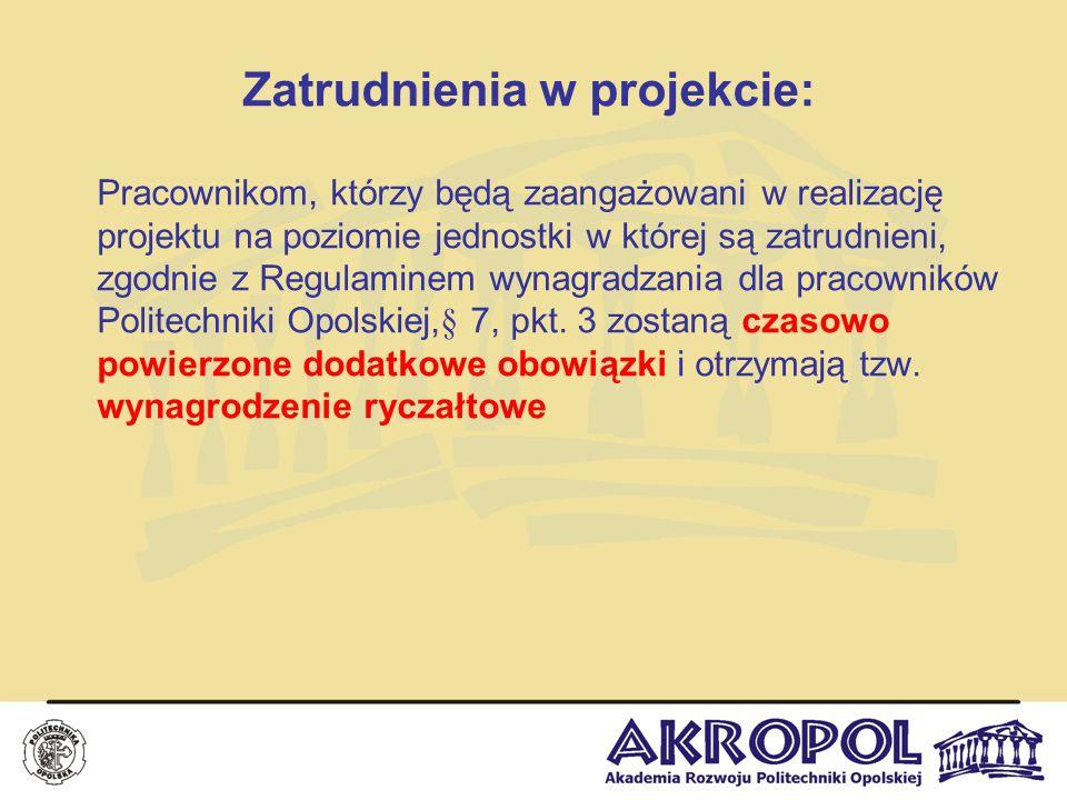 Zatrudnienia w projekcie: Pracownikom, którzy będą zaangażowani w realizację projektu na poziomie jednostki w której są zatrudnieni, zgodnie z Regulam