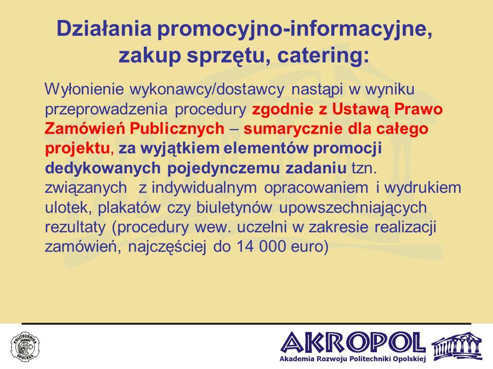 Działania promocyjno-informacyjne, zakup sprzętu, catering: Wyłonienie wykonawcy/dostawcy nastąpi w wyniku przeprowadzenia procedury zgodnie z Ustawą
