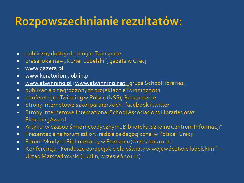 """ publiczny dostęp do bloga i Twinspace  prasa lokalna – """"Kurier Lubelski , gazeta w Grecji  www.gazeta.pl www.gazeta.pl  www.kuratorium.lublin.pl www.kuratorium.lublin.pl  www.etwinning.pl i www.etwinning.net ; grupa School libraries ; www.etwinning.plwww.etwinning.net  publikacja o nagrodzonych projektach eTwinning2011  konferencje eTwinning w Polsce (NSS), Budapeszcie  Strony internetowe szkół partnerskich, facebook i twitter  Strony internetowe International School Assosiasions Libraries oraz ElearningAward  Artykuł w czasopiśmie metodycznym """"Biblioteka.Szkolne Centrum Informacji  Prezentacja na forum szkoły, radzie pedagogicznej w Polsce i Grecji  Forum Młodych Bibliotekarzy w Poznaniu (wrzesień 2011r.)  Konferencja """" Fundusze europejskie dla oświaty w województwie lubelskim – Urząd Marszałkowski (Lublin, wrzesień 2011r.)"""