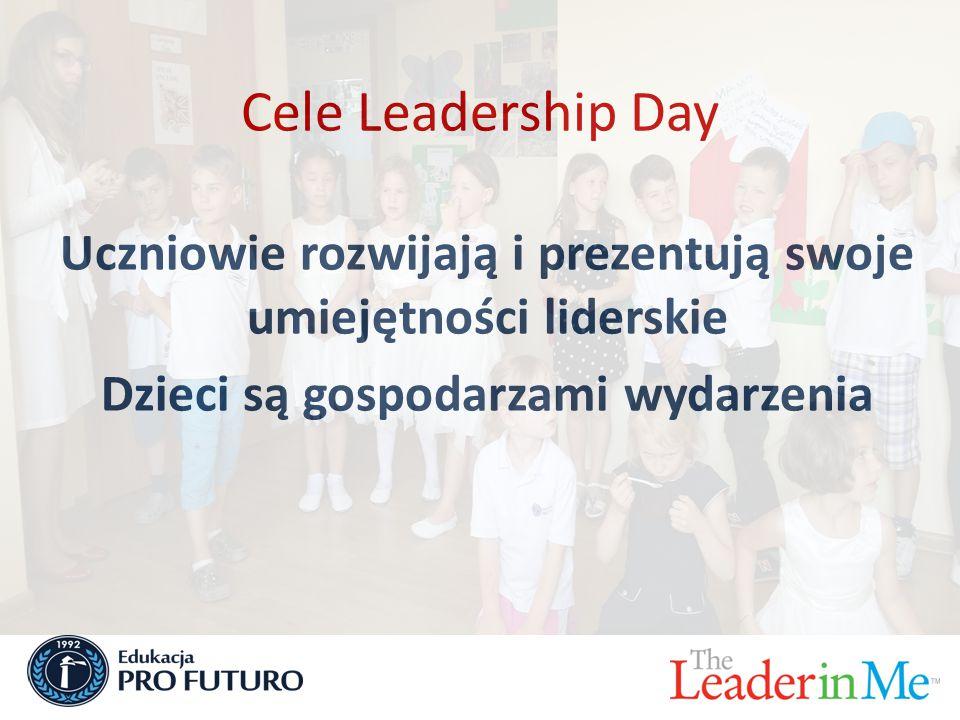 Cele Leadership Day Uczniowie rozwijają i prezentują swoje umiejętności liderskie Dzieci są gospodarzami wydarzenia