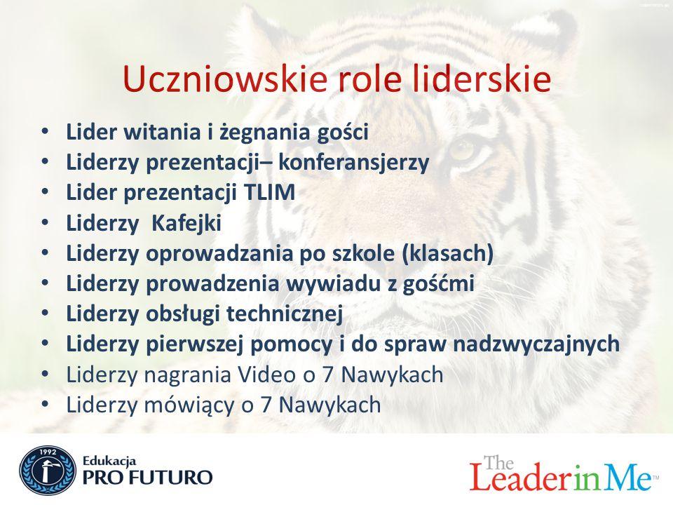 Uczniowskie role liderskie Lider witania i żegnania gości Liderzy prezentacji– konferansjerzy Lider prezentacji TLIM Liderzy Kafejki Liderzy oprowadzania po szkole (klasach) Liderzy prowadzenia wywiadu z gośćmi Liderzy obsługi technicznej Liderzy pierwszej pomocy i do spraw nadzwyczajnych Liderzy nagrania Video o 7 Nawykach Liderzy mówiący o 7 Nawykach