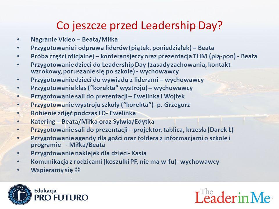Co jeszcze przed Leadership Day? Nagranie Video – Beata/Miłka Przygotowanie i odprawa liderów (piątek, poniedziałek) – Beata Próba części oficjalnej –