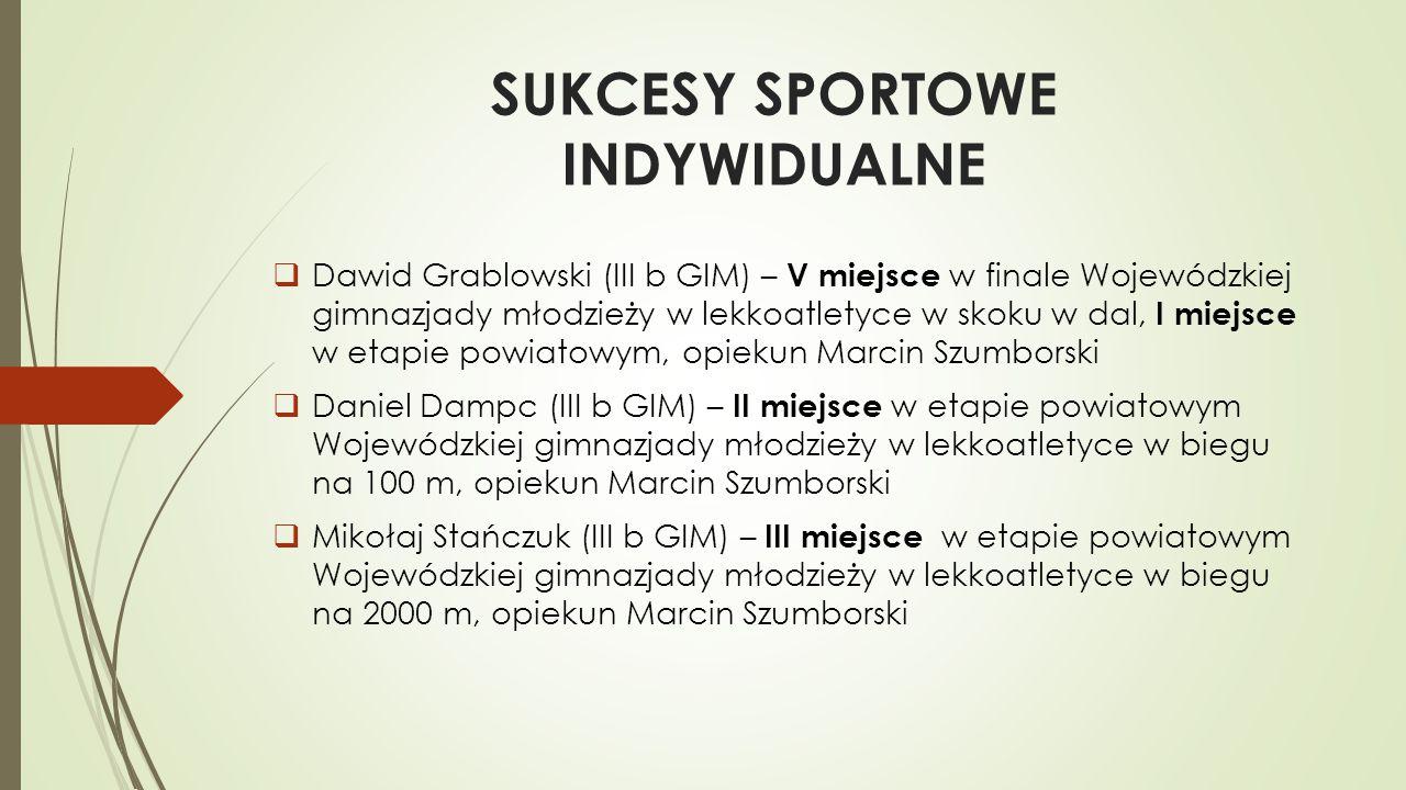 SUKCESY SPORTOWE INDYWIDUALNE  Dawid Grablowski (III b GIM) – V miejsce w finale Wojewódzkiej gimnazjady młodzieży w lekkoatletyce w skoku w dal, I m