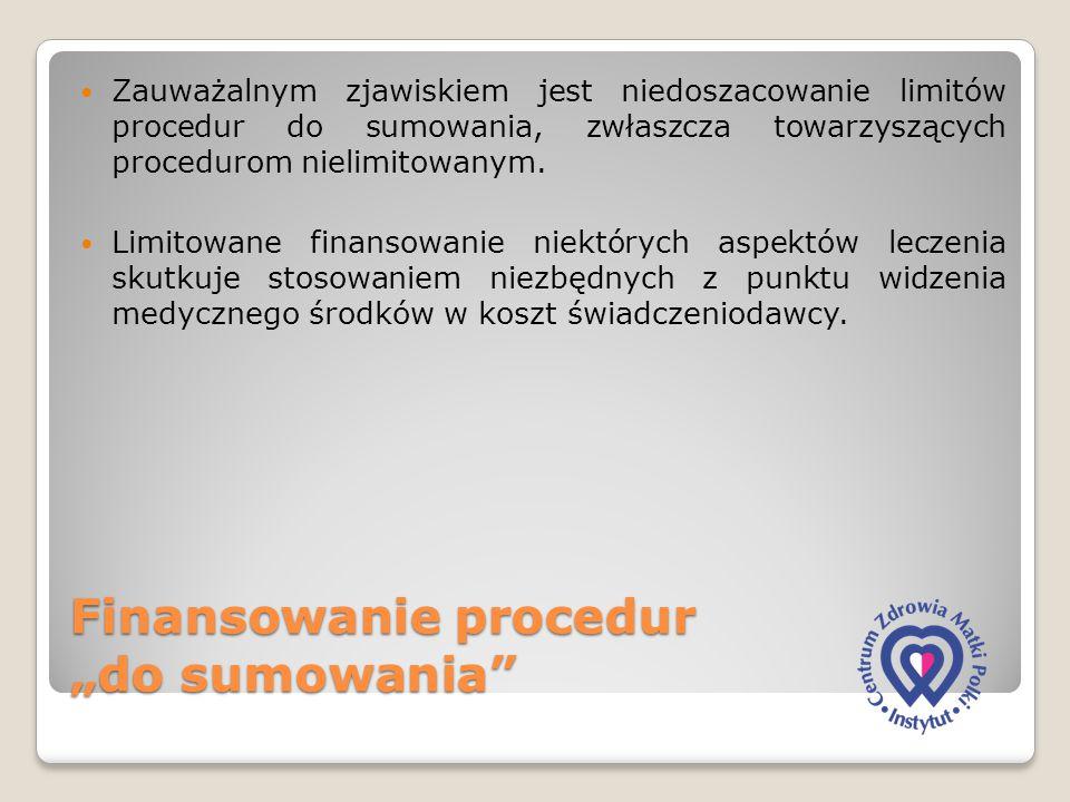 """Finansowanie procedur """"do sumowania"""" Zauważalnym zjawiskiem jest niedoszacowanie limitów procedur do sumowania, zwłaszcza towarzyszących procedurom ni"""