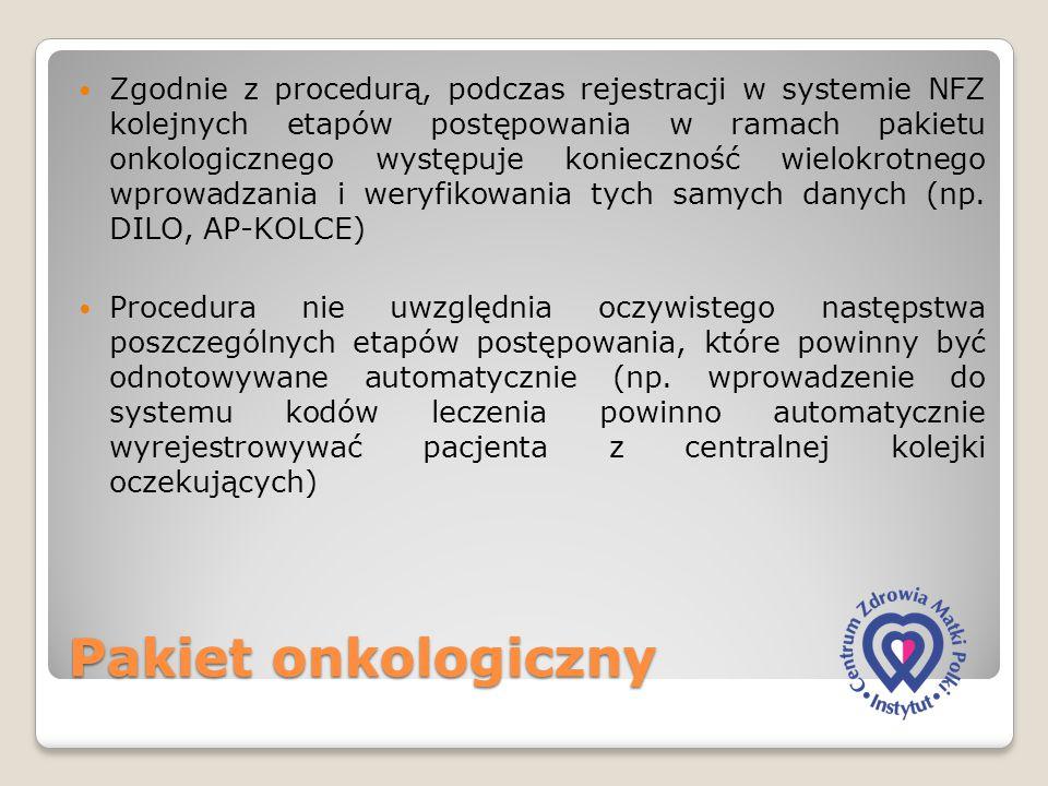 Pakiet onkologiczny Zgodnie z procedurą, podczas rejestracji w systemie NFZ kolejnych etapów postępowania w ramach pakietu onkologicznego występuje ko