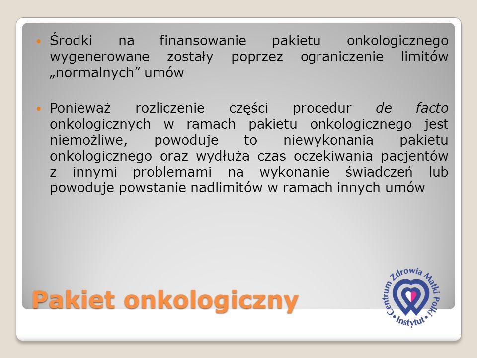 """Pakiet onkologiczny Środki na finansowanie pakietu onkologicznego wygenerowane zostały poprzez ograniczenie limitów """"normalnych"""" umów Ponieważ rozlicz"""
