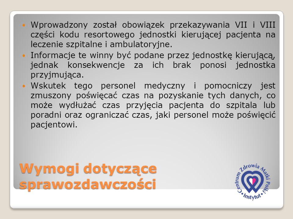 Wymogi dotyczące sprawozdawczości Wprowadzony został obowiązek przekazywania VII i VIII części kodu resortowego jednostki kierującej pacjenta na lecze