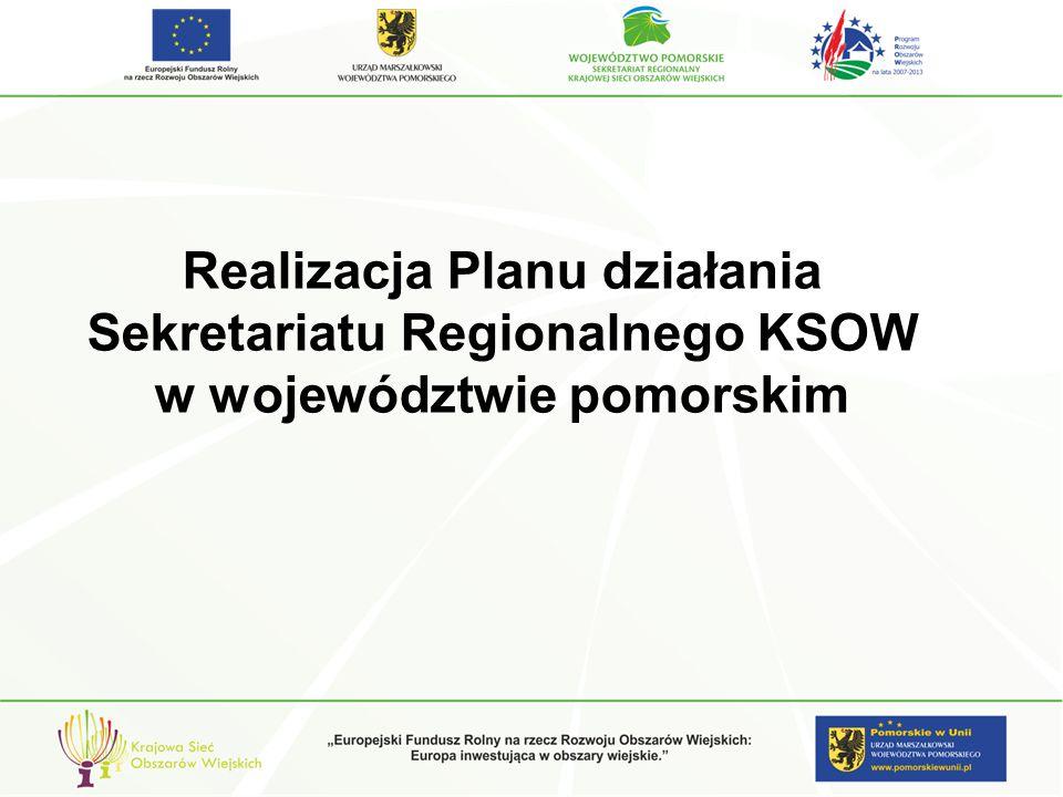 Sekretariat Regionalny KSOW Województwa Pomorskiego realizując cele i priorytety Krajowej Sieci Obszarów Wiejskich koncentruje się na takich działaniach, jak: promocja produktów tradycyjnych i regionalnych, działania na rzecz zachowania lokalnego dziedzictwa kulturowego, wsparcie rozwoju przedsiębiorczości na obszarach wiejskich, działania na rzecz zrównoważonego rozwoju obszarów wiejskich, wsparcie działań na rzecz rozwoju innowacyjności w rolnictwie, wsparcie działań realizowanych przez pomorskie LGD.