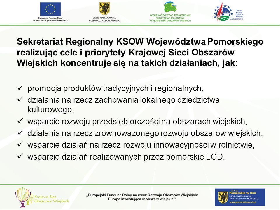 Przykłady projektów zrealizowanych przez Sekretariat Regionalnych w ramach PD KSOW Działanie: Identyfikacja i analiza możliwych do przeniesienia dobrych praktyk w zakresie rozwoju obszarów wiejskich oraz przekazanie informacji na ich temat promocja produktów tradycyjnych i regionalnych: Organizacja i współorganizacja imprez i wydarzeń promujących produkty tradycyjne oraz wysokiej jakości żywność regionalną pochodzącą z różnych części Pomorza: Kaszub, Kociewia, Żuław i Powiśla.