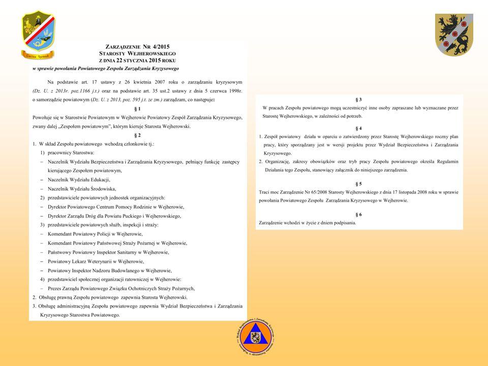 Zadania realizowane przez WBiZK:  z zakresu zarządzania kryzysowego  z zakresu obrony cywilnej  z zakresu spraw obronnych  z zakresu kwalifikacji wojskowej  z zakresu ochrony przeciwpożarowej i przeciwpowodziowej  z zakresu ochrony informacji niejawnych  pełnienie funkcji Powiatowego Centrum Zarządzania Kryzysowego  obsługa Komisji Bezpieczeństwa i Porządku przy Staroście Wejherowskim  obsługa Powiatowego Zespołu Zarządzania Kryzysowego