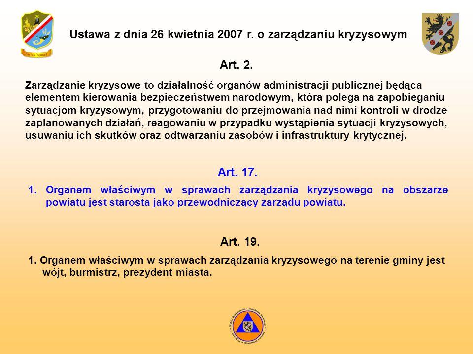 Ustawa z dnia 26 kwietnia 2007 r. o zarządzaniu kryzysowym Zarządzanie kryzysowe to działalność organów administracji publicznej będąca elementem kier