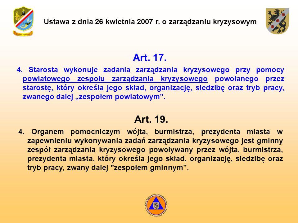 Ustawa z dnia 26 kwietnia 2007 r. o zarządzaniu kryzysowym Art. 17. Art. 19. 4. Starosta wykonuje zadania zarządzania kryzysowego przy pomocy powiatow
