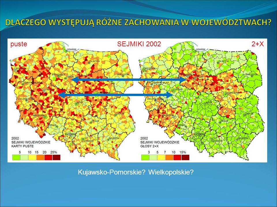 SEJMIKI 2002 Kujawsko-Pomorskie Wielkopolskie puste2+X