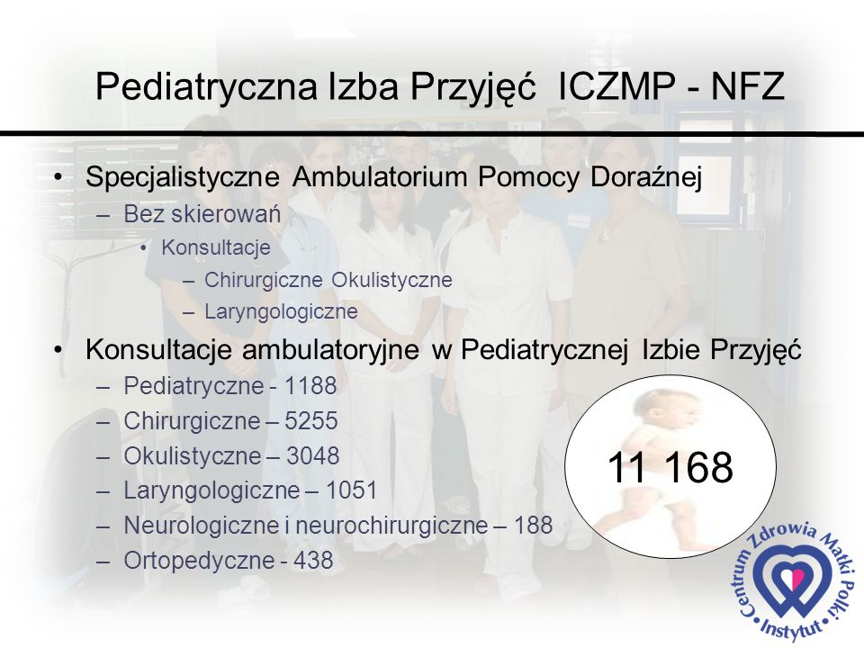 Pediatryczna Izba Przyjęć ICZMP - NFZ Specjalistyczne Ambulatorium Pomocy Doraźnej –Bez skierowań Konsultacje –Chirurgiczne Okulistyczne –Laryngologiczne Konsultacje ambulatoryjne w Pediatrycznej Izbie Przyjęć –Pediatryczne - 1188 –Chirurgiczne – 5255 –Okulistyczne – 3048 –Laryngologiczne – 1051 –Neurologiczne i neurochirurgiczne – 188 –Ortopedyczne - 438 11 168