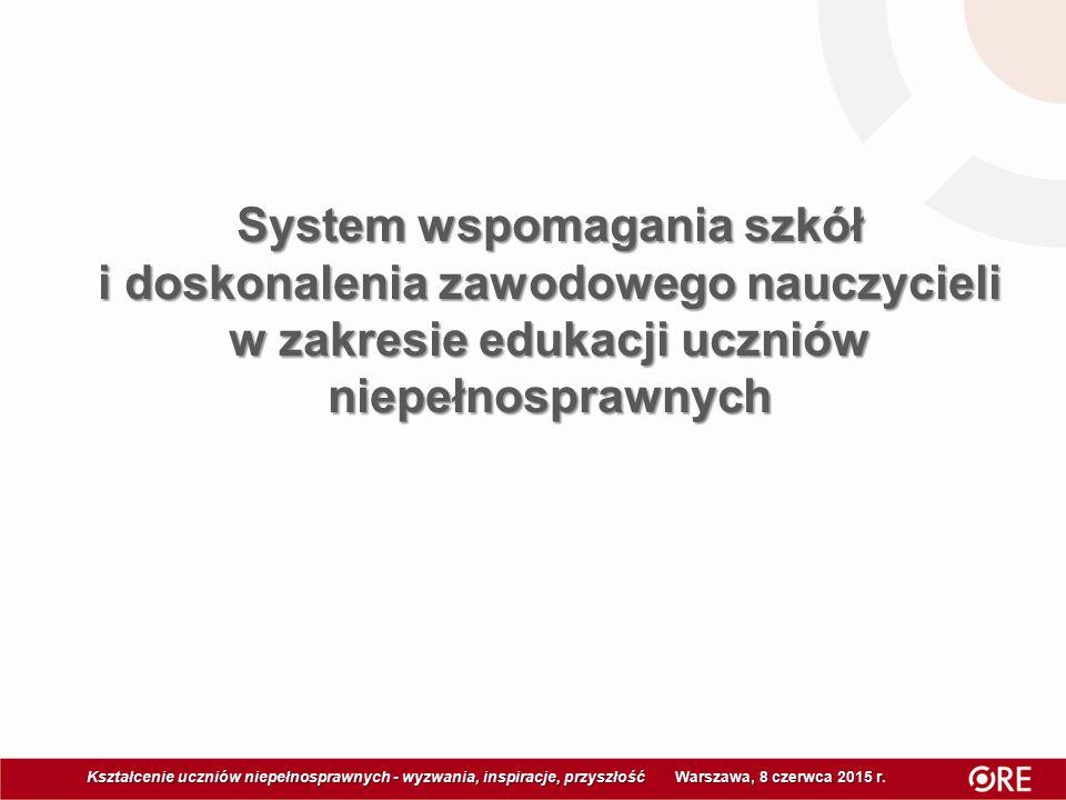 System wspomagania szkół i doskonalenia zawodowego nauczycieli w zakresie edukacji uczniów niepełnosprawnych Kształcenie uczniów niepełnosprawnych - wyzwania, inspiracje, przyszłość Warszawa, 8 czerwca 2015 r Kształcenie uczniów niepełnosprawnych - wyzwania, inspiracje, przyszłość Warszawa, 8 czerwca 2015 r.