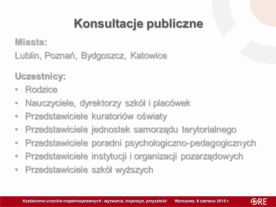 Konsultacje publiczne Kształcenie uczniów niepełnosprawnych - wyzwania, inspiracje, przyszłość Warszawa, 8 czerwca 2015 r Kształcenie uczniów niepełno