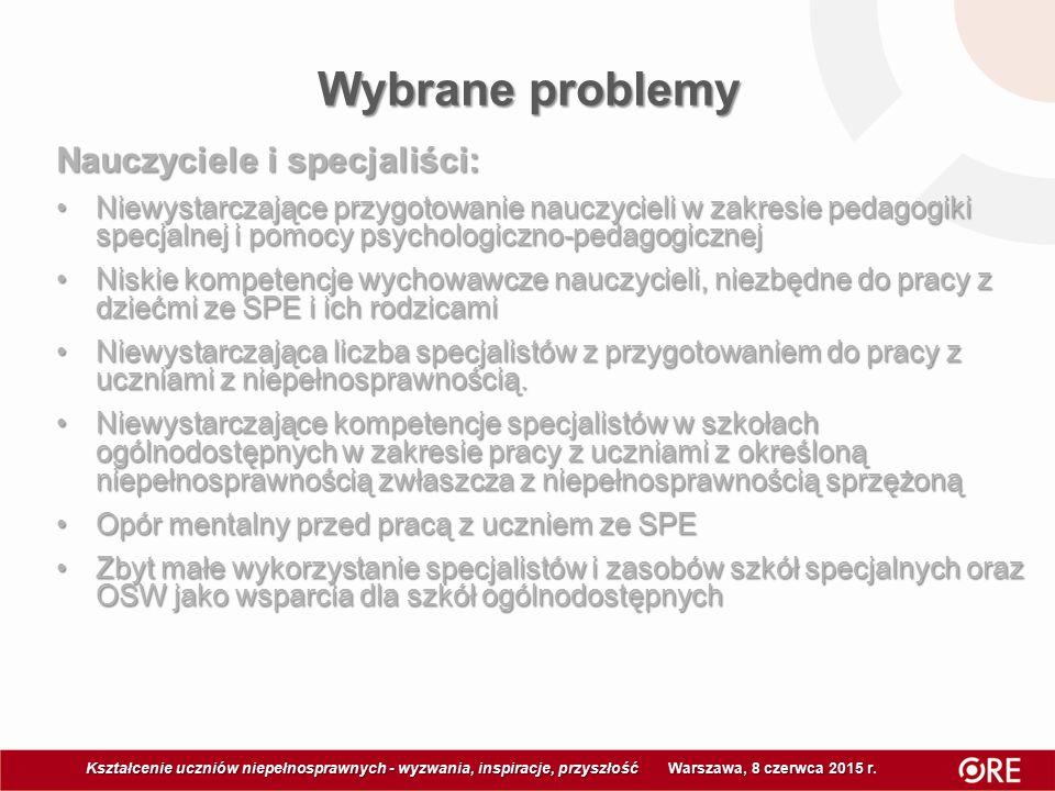 Wybrane problemy Kształcenie uczniów niepełnosprawnych - wyzwania, inspiracje, przyszłość Warszawa, 8 czerwca 2015 r Kształcenie uczniów niepełnosprawnych - wyzwania, inspiracje, przyszłość Warszawa, 8 czerwca 2015 r.