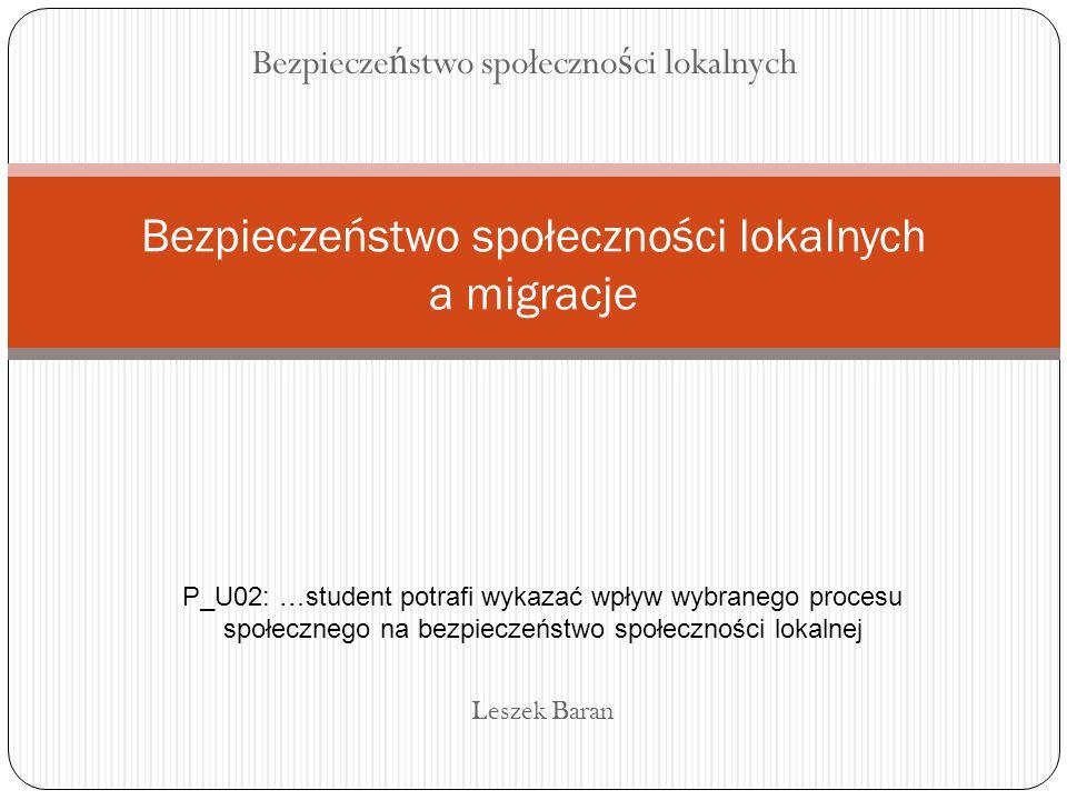 Bezpiecze ń stwo społeczno ś ci lokalnych Bezpieczeństwo społeczności lokalnych a migracje P_U02: …student potrafi wykazać wpływ wybranego procesu społecznego na bezpieczeństwo społeczności lokalnej Leszek Baran
