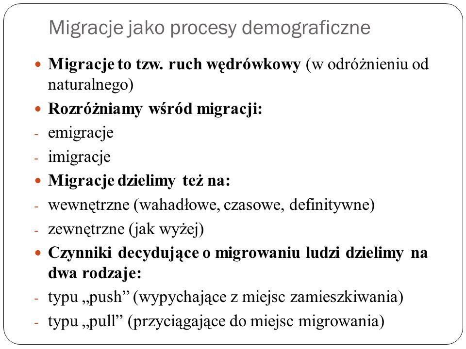 Migracje jako procesy demograficzne Migracje to tzw.