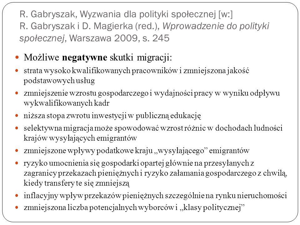 R.Gabryszak, Wyzwania dla polityki społecznej [w:] R.