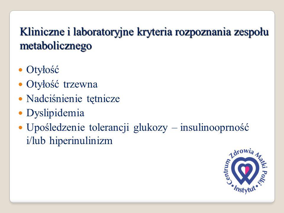 Kliniczne i laboratoryjne kryteria rozpoznania zespołu metabolicznego Otyłość Otyłość trzewna Nadciśnienie tętnicze Dyslipidemia Upośledzenie toleranc