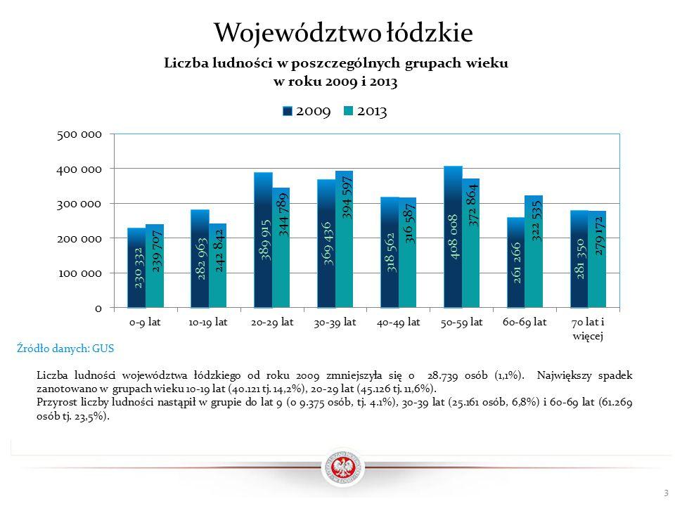 W 2013 roku w województwie łódzkim odsetek liczby dzieci i młodzieży do lat 19 był równy 19,2% przy średniej dla Polski wynoszącej 20,5%.