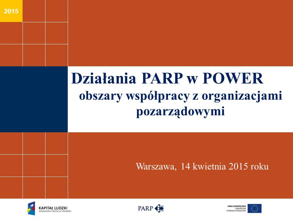 2015 Działania PARP w POWER obszary współpracy z organizacjami pozarządowymi Warszawa, 14 kwietnia 2015 roku