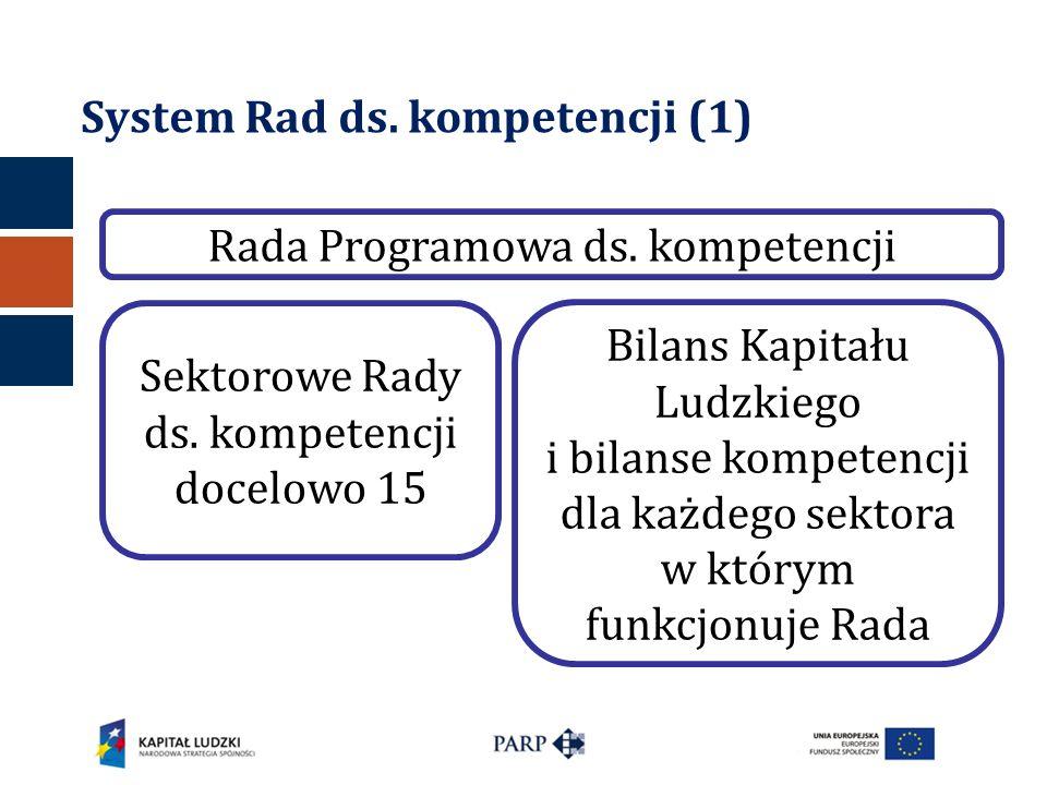 System Rad ds. kompetencji (1) Sektorowe Rady ds. kompetencji docelowo 15 Bilans Kapitału Ludzkiego i bilanse kompetencji dla każdego sektora w którym