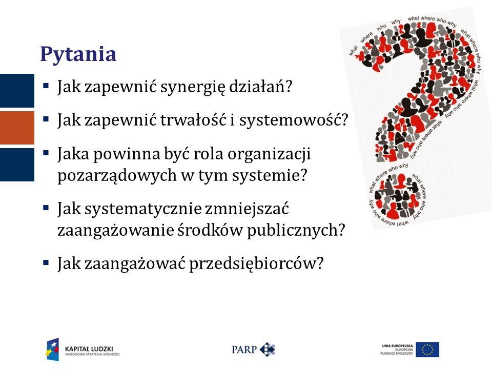 Pytania  Jak zapewnić synergię działań?  Jak zapewnić trwałość i systemowość?  Jaka powinna być rola organizacji pozarządowych w tym systemie?  Ja