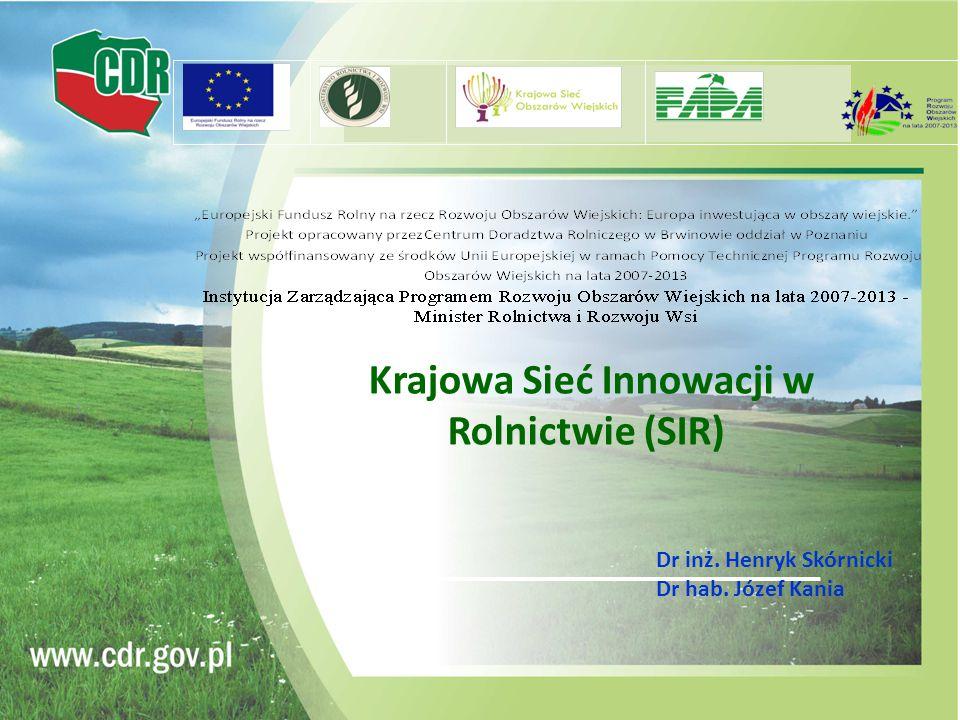 Krajowa Sieć Innowacji w Rolnictwie (SIR) Dr inż. Henryk Skórnicki Dr hab. Józef Kania