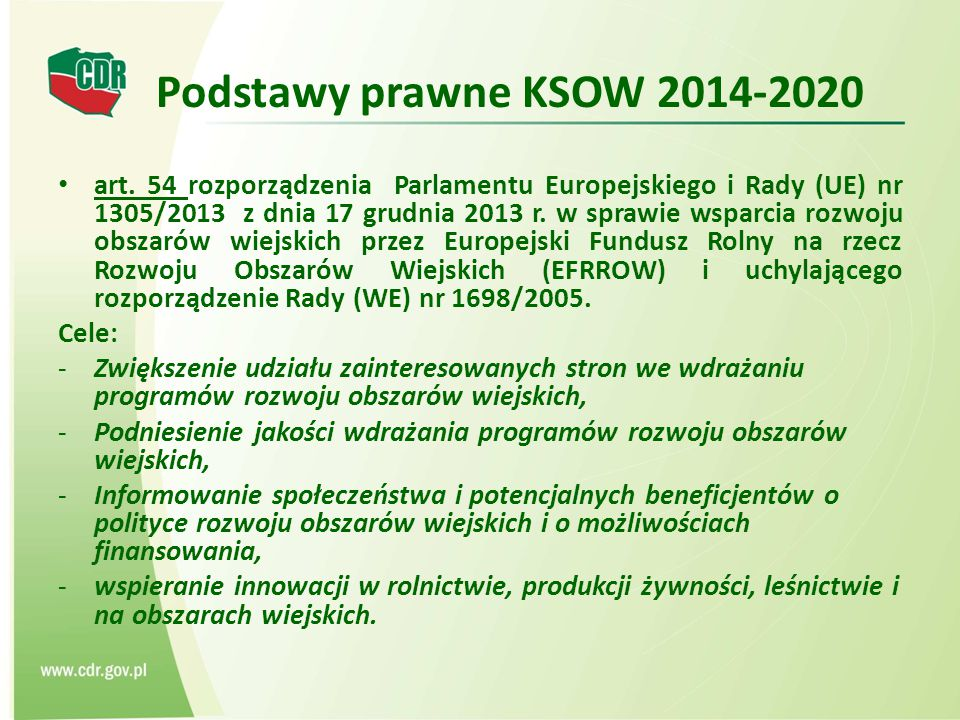 Podstawy prawne KSOW 2014-2020 art.