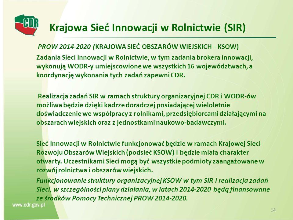 Krajowa Sieć Innowacji w Rolnictwie (SIR) PROW 2014-2020 (KRAJOWA SIEĆ OBSZARÓW WIEJSKICH - KSOW) Zadania Sieci Innowacji w Rolnictwie, w tym zadania brokera innowacji, wykonują WODR-y umiejscowione we wszystkich 16 województwach, a koordynację wykonania tych zadań zapewni CDR.
