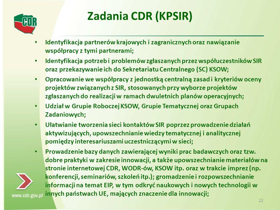 Zadania CDR (KPSIR) Identyfikacja partnerów krajowych i zagranicznych oraz nawiązanie współpracy z tymi partnerami; Identyfikacja potrzeb i problemów zgłaszanych przez współuczestników SIR oraz przekazywanie ich do Sekretariatu Centralnego (SC) KSOW; Opracowanie we współpracy z jednostką centralną zasad i kryteriów oceny projektów związanych z SIR, stosowanych przy wyborze projektów zgłaszanych do realizacji w ramach dwuletnich planów operacyjnych; Udział w Grupie Roboczej KSOW, Grupie Tematycznej oraz Grupach Zadaniowych; Ułatwianie tworzenia sieci kontaktów SIR poprzez prowadzenie działań aktywizujących, upowszechnianie wiedzy tematycznej i analitycznej pomiędzy interesariuszami uczestniczącymi w sieci; Prowadzenie bazy danych zawierającej wyniki prac badawczych oraz tzw.