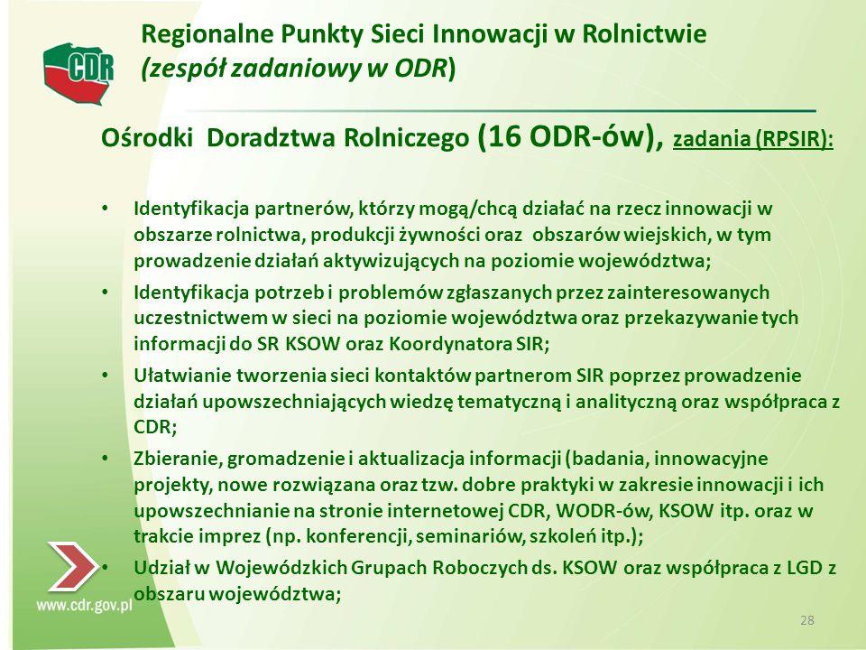 Ośrodki Doradztwa Rolniczego (16 ODR-ów), zadania (RPSIR): Identyfikacja partnerów, którzy mogą/chcą działać na rzecz innowacji w obszarze rolnictwa, produkcji żywności oraz obszarów wiejskich, w tym prowadzenie działań aktywizujących na poziomie województwa; Identyfikacja potrzeb i problemów zgłaszanych przez zainteresowanych uczestnictwem w sieci na poziomie województwa oraz przekazywanie tych informacji do SR KSOW oraz Koordynatora SIR; Ułatwianie tworzenia sieci kontaktów partnerom SIR poprzez prowadzenie działań upowszechniających wiedzę tematyczną i analityczną oraz współpraca z CDR; Zbieranie, gromadzenie i aktualizacja informacji (badania, innowacyjne projekty, nowe rozwiązana oraz tzw.