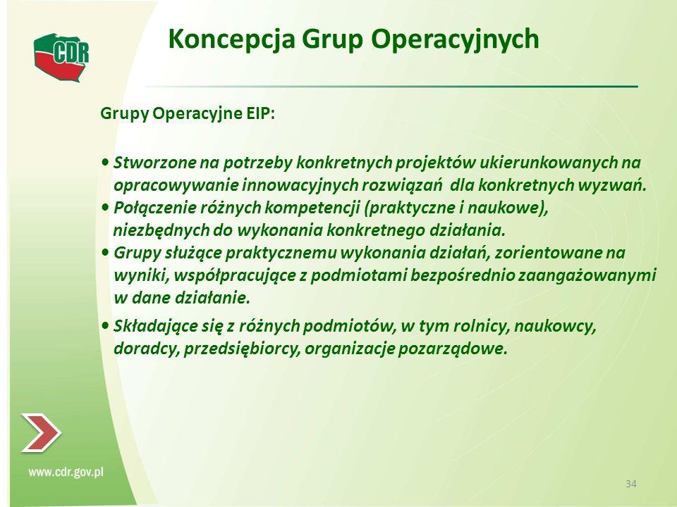 Koncepcja Grup Operacyjnych Grupy Operacyjne EIP: Stworzone na potrzeby konkretnych projektów ukierunkowanych na opracowywanie innowacyjnych rozwiązań dla konkretnych wyzwań.