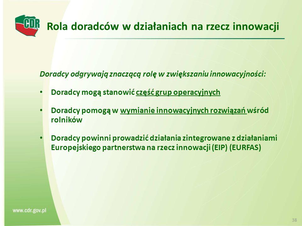 Rola doradców w działaniach na rzecz innowacji Doradcy odgrywają znaczącą rolę w zwiększaniu innowacyjności: Doradcy mogą stanowić część grup operacyjnych Doradcy pomogą w wymianie innowacyjnych rozwiązań wśród rolników Doradcy powinni prowadzić działania zintegrowane z działaniami Europejskiego partnerstwa na rzecz innowacji (EIP) (EURFAS) 38