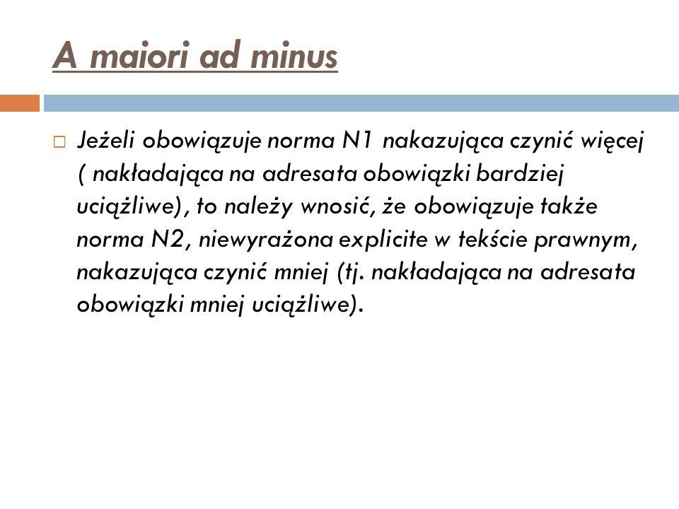 A maiori ad minus  Jeżeli obowiązuje norma N1 nakazująca czynić więcej ( nakładająca na adresata obowiązki bardziej uciążliwe), to należy wnosić, że