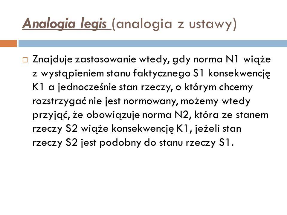 Analogia legis (analogia z ustawy)  Znajduje zastosowanie wtedy, gdy norma N1 wiąże z wystąpieniem stanu faktycznego S1 konsekwencję K1 a jednocześni