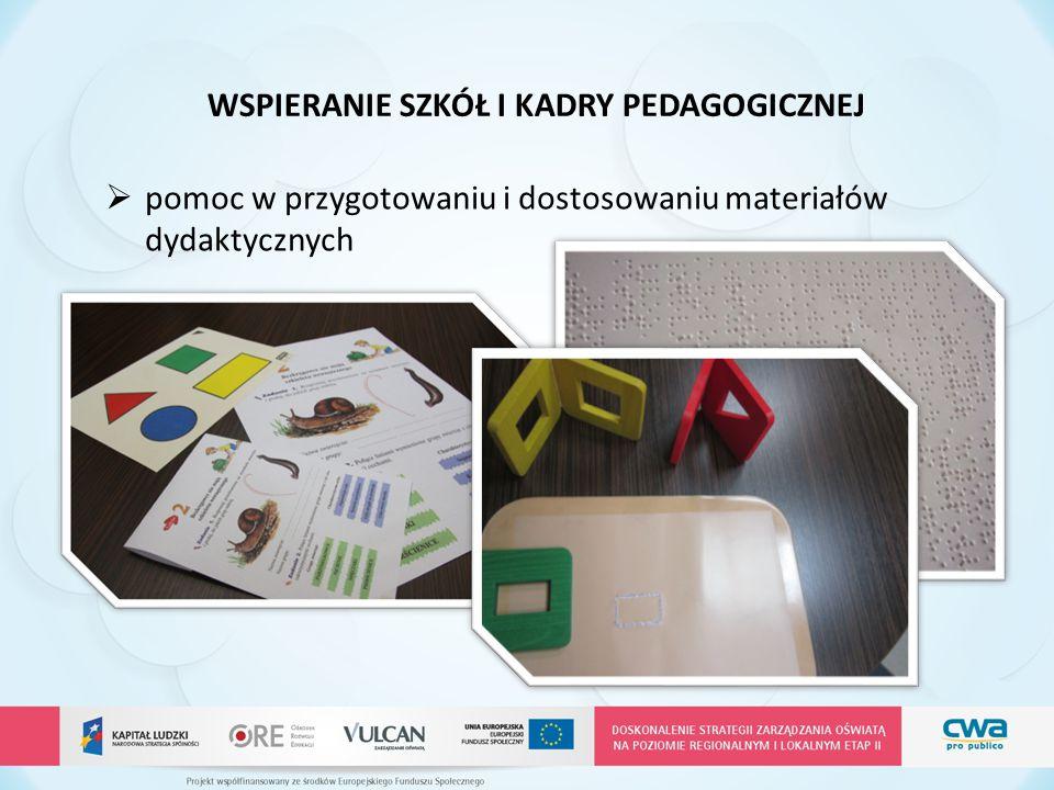 WSPIERANIE SZKÓŁ I KADRY PEDAGOGICZNEJ  pomoc w przygotowaniu i dostosowaniu materiałów dydaktycznych