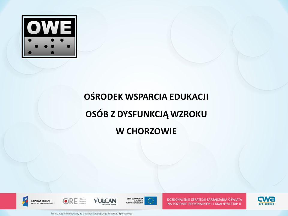  wspieranie edukacji uczniów słabowidzących, niewidomych z terenu województwa śląskiego, którzy uczą się w szkołach ogólnodostępnych i integracyjnych  udzielanie rodzicom, opiekunom i nauczycielom metodycznego i merytorycznego wsparcia w zakresie rozwiązywania problemów dydaktyczno - wychowawczych dzieci i młodzieży z dysfunkcją wzroku