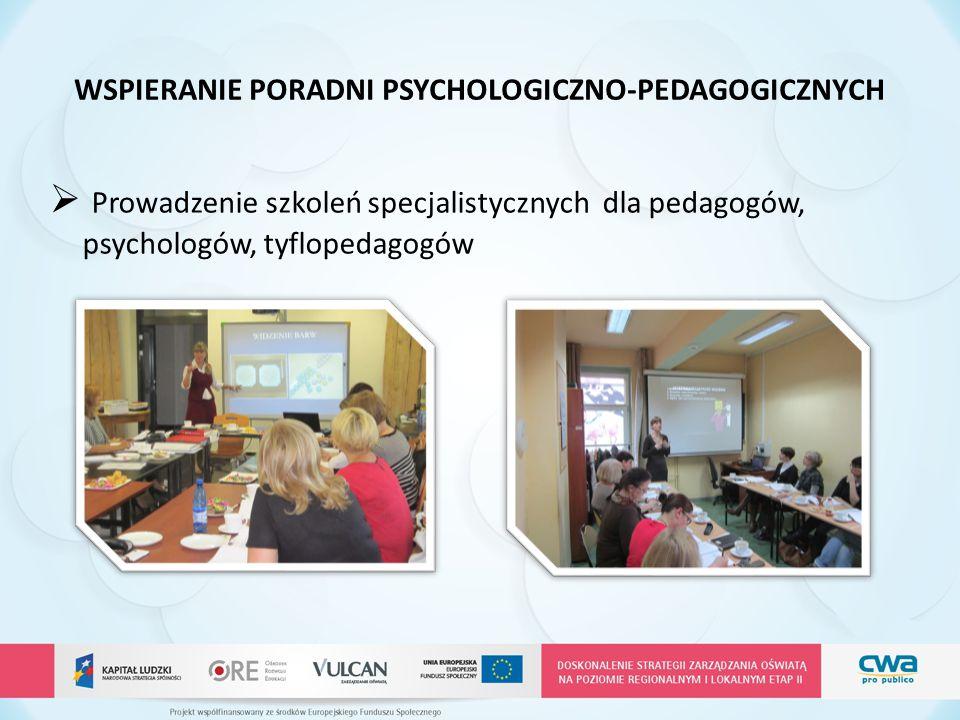 WSPIERANIE PORADNI PSYCHOLOGICZNO-PEDAGOGICZNYCH  Prowadzenie szkoleń specjalistycznych dla pedagogów, psychologów, tyflopedagogów