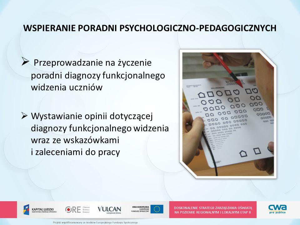 WSPIERANIE PORADNI PSYCHOLOGICZNO-PEDAGOGICZNYCH  Przeprowadzanie na życzenie poradni diagnozy funkcjonalnego widzenia uczniów  Wystawianie opinii d