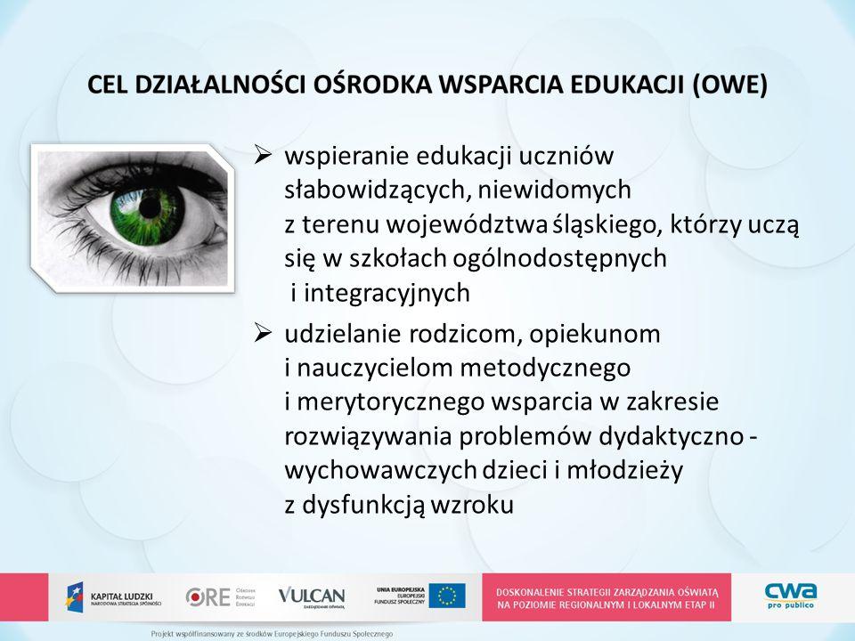 Z 4-LETNIEJ DZIAŁALNOŚCI OWE… W roku szkolnym 2010/2011 przy SOSW dla Młodzieży Niewidomej i Słabowidzącej w Chorzowie powołano Ośrodek Wsparcia Edukacji Liczba podopiecznych objętych wsparciem – 237 osób