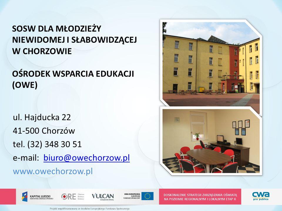 ul. Hajducka 22 41-500 Chorzów tel. (32) 348 30 51 e-mail: biuro@owechorzow.plbiuro@owechorzow.pl www.owechorzow.pl SOSW DLA MŁODZIEŻY NIEWIDOMEJ I SŁ
