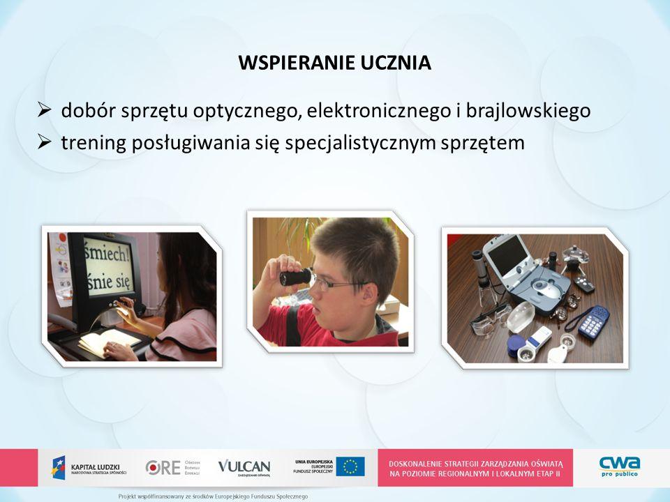 WSPIERANIE UCZNIA  dobór sprzętu optycznego, elektronicznego i brajlowskiego  trening posługiwania się specjalistycznym sprzętem